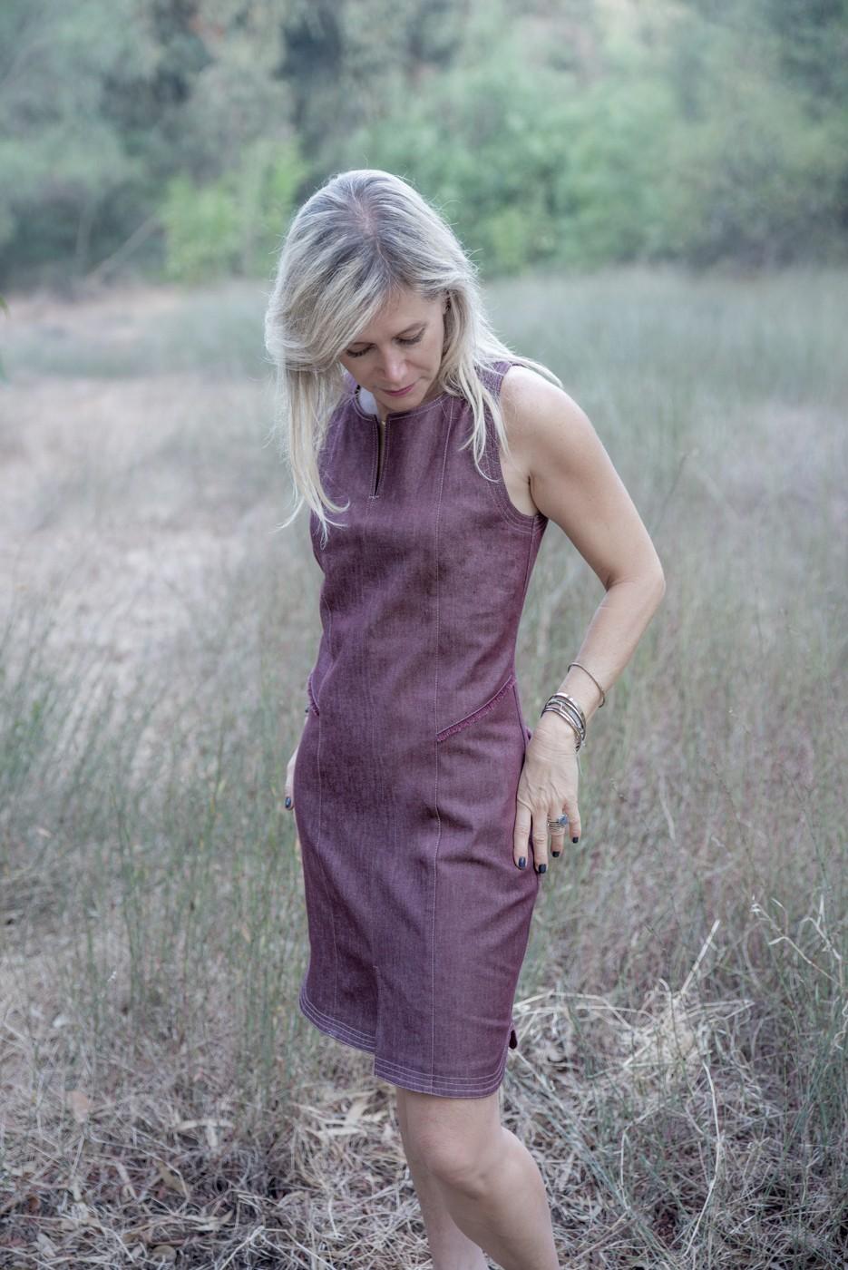 שמלת מרטינה ג'ינס בורדו